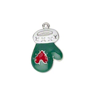 charm, imitation rhodium-plated pewter (zinc-based alloy) and enamel, green / white / red, 21x15mm left- and right-facing single-sided mitten with heart. sold per pair.