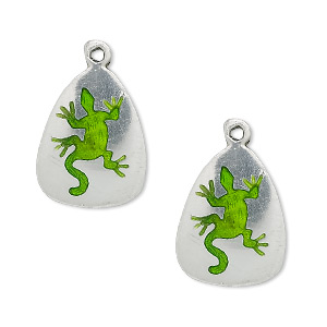 charm, pewter (tin-based alloy), 19x15mm with green enamel gecko. sold per pkg of 2.