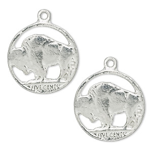 charm, pewter (tin-based alloy), 20mm buffalo nickel (tails), one sided. sold per pkg of 2.