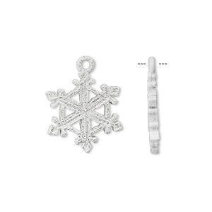 charm, pewter (tin-based alloy) with white epoxy and glitter, 20x15mm snowflake. sold individually.