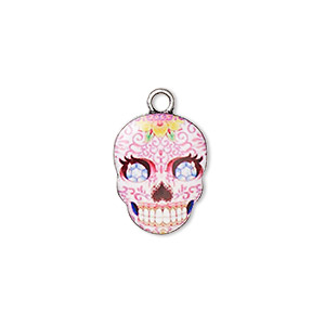 charm, resin and antique silver-plated pewter (zinc-based alloy), multicolored, 17.5x14mm single-sided dia de los muertos skull with flower and diamond design. sold individually.