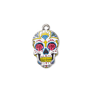 charm, resin and antique silver-plated pewter (zinc-based alloy), multicolored, 19x13mm single-sided dia de los muertos skull with flower and diamond design. sold individually.