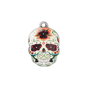 charm, resin and antique silver-plated pewter (zinc-based alloy), multicolored, 19x14.5mm single-sided dia de los muertos skull with flower design. sold individually.