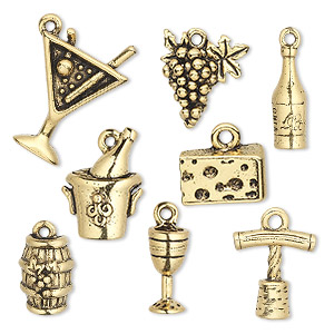 charm set, antique gold-plated pewter (tin-based alloy), 14x5mm-20.5x15.5mm wine theme. sold per 8-piece set.
