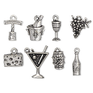 charm set, antiqued pewter (tin-based alloy), 14x5mm-20.5x15.5mm wine theme. sold per 8-piece set.