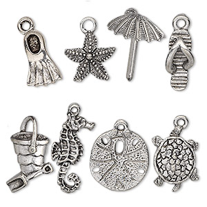 charm set, antiqued pewter (tin-based alloy), 16.5x5.5mm-25x17mm sand and sea theme. sold per 8-piece set.