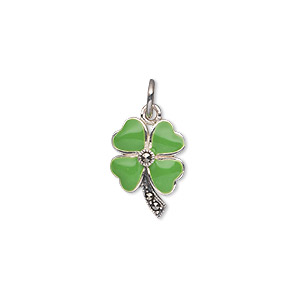 charm, signity marcasite (natural) / epoxy / antiqued sterling silver, green, 15x11mm single-sided 4-leaf clover. sold individually.