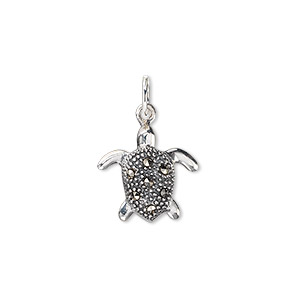 charm, signity marcasite (natural) and sterling silver, 15x14mm sea turtle. sold individually.
