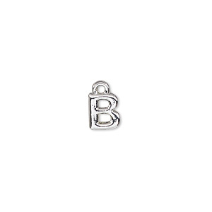 charm, silver-finished pewter (zinc-based alloy), 7.5x6.5mm alphabet letter b. sold per pkg of 2.