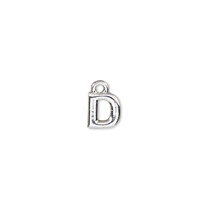 charm, silver-finished pewter (zinc-based alloy), 7.5x7mm alphabet letter d. sold per pkg of 2.