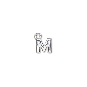 charm, silver-finished pewter (zinc-based alloy), 8x8mm alphabet letter m. sold per pkg of 2.