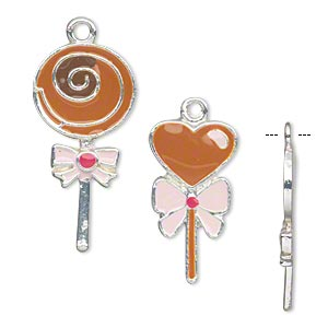 charm, silver-finished pewter (zinc-based alloy) and enamel, pink and brown, (two) 28x14mm flat lollipops and (two) 22x12mm flat heart lollipops. sold per set of 4.