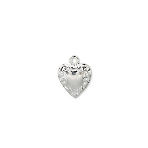 charm, silver-plated brass, 10x10mm flat heart. sold per pkg of 10.