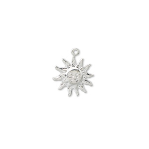 charm, silver-plated brass, 12x12mm sun face. sold per pkg of 100.