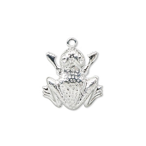charm, silver-plated brass, 18x17mm frog. sold per pkg of 10.
