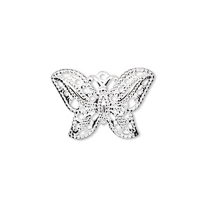 charm, silver-plated brass, 21x15mm fancy butterfly. sold per pkg of 24.