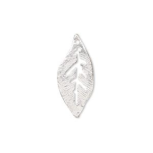 charm, silver-plated copper, 24x10mm leaf with cutouts. sold per pkg of 6.