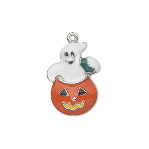 charm, silver-plated pewter (zinc-based alloy) and enamel, multicolored, 22x16mm single-sided ghost in pumpkin. sold individually.