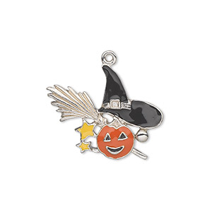 charm, silver-plated pewter (zinc-based alloy) and enamel, orange / black / yellow, 25x19mm single-sided witchs hat, broom and pumpkin. sold individually.