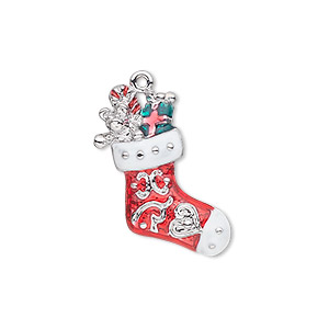 charm, silver-plated pewter (zinc-based alloy) and enamel, red / white / green, 22x18mm single-sided stocking with teddy bear, candy cane and present. sold individually.