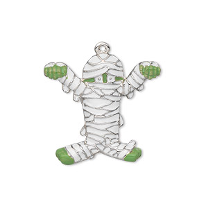 charm, silver-plated pewter (zinc-based alloy) and enamel, white and green, 25x23mm single-sided mummy. sold individually.