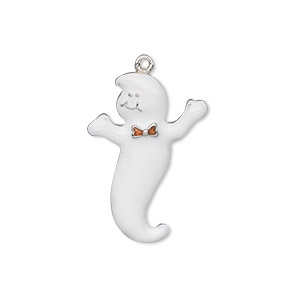charm, silver-plated pewter (zinc-based alloy) and enamel, white and orange, 25x17mm single-sided ghost with bowtie. sold individually.