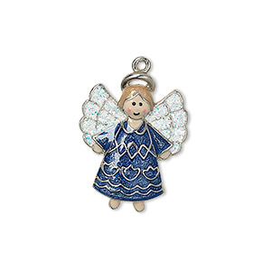 charm, silver-plated pewter (zinc-based alloy) with enamel and glitter, multicolored, 23x18mm single-sided angel. sold individually.