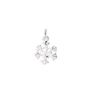 charm, sterling silver, 10mm snowflake. sold per pkg of 4.