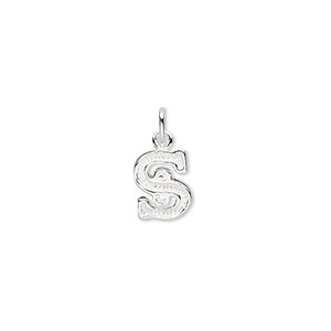 charm, sterling silver, 10x7mm fancy block alphabet letter s. sold individually.