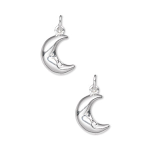 charm, sterling silver, 12x11mm puffed moon face. sold per pkg of 2.