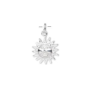 charm, sterling silver, 12x12mm sun face. sold individually.