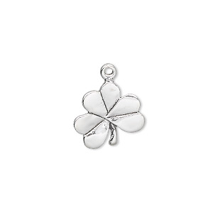charm, sterling silver, 13.5x11mm single-sided 3-leaf clover. sold individually.