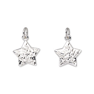 charm, sterling silver, 13x12mm double-sided diamond-cut puffed star. sold individually.