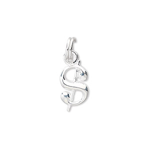 charm, sterling silver, 13x8mm dollar sign. sold individually.