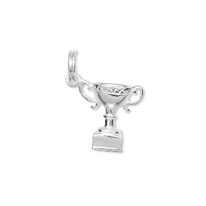 charm, sterling silver, 14x14mm trophy cup. sold individually.