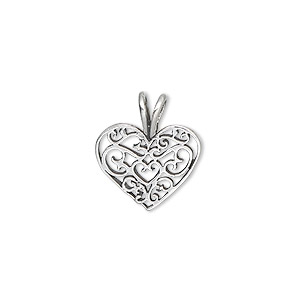 charm, sterling silver, 15x12mm filigree heart. sold individually.