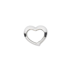 charm, sterling silver, 15x13mm open floating heart. sold per pkg of 2.