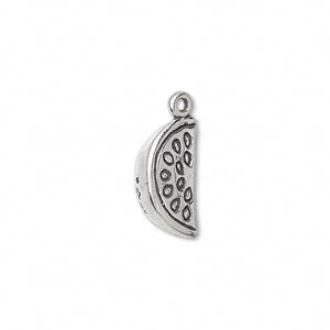 charm, sterling silver, 16x8mm watermelon slice. sold individually.