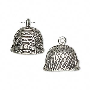 charm, sterling silver, 17x16x15mm army helmet. sold individually.