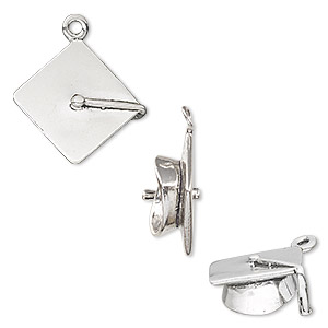 charm, sterling silver, 18x17mm 3d graduation cap. sold individually.