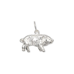 charm, sterling silver, 20x11mm pig. sold individually.