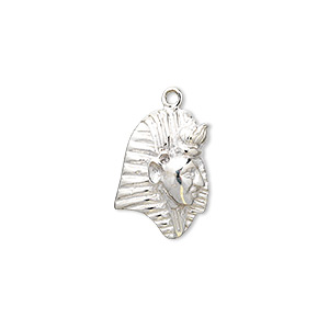 charm, sterling silver, 21x13mm pharaoh. sold individually.