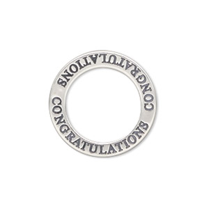 charm, sterling silver, 22mm affirmation circle congratulations. sold individually.