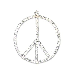 charm, sterling silver, 28mm hammered flat peace sign. sold individually.