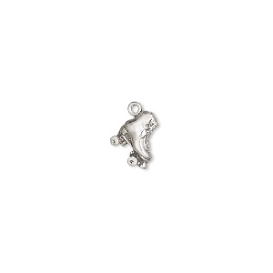 charm, sterling silver, 8x7mm roller skate. sold per pkg of 2.