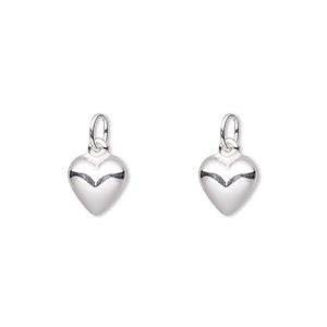 charm, sterling silver, 8x8mm double-sided puffed heart. sold per pkg of 2.