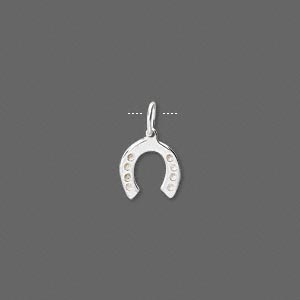 charm, sterling silver, 9.5x7.5mm single-sided horseshoe. sold per pkg of 4.