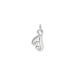 charm, sterling silver, 9x6mm champagne cursive alphabet letter t. sold individually.