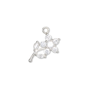 charm, sterling silver and crystal, clear, 19x14mm flower. sold individually.