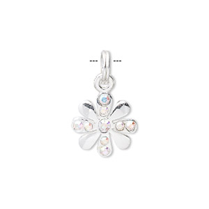 charm, sterling silver and crystal rhinestone, clear ab, 16x14mm flower. sold individually.